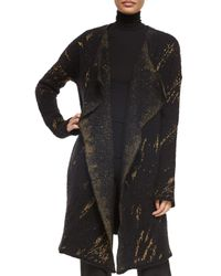 Donna Karan - Black Cashmere-blend Tapestry Jacquard Open Coat - Lyst