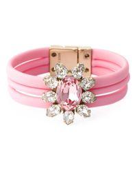Shourouk - Pink Floral Stone Bracelet - Lyst