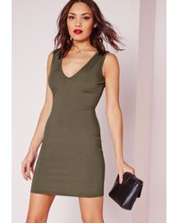 Missguided | Natural Ribbed Sleeveless Plunge Bodycon Dress Khaki | Lyst