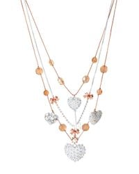 Betsey Johnson | White Hearts Multi-Strand Illusion Necklace | Lyst