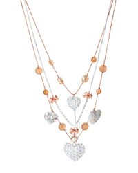 Betsey Johnson - White Hearts Multi-Strand Illusion Necklace - Lyst