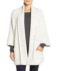 White + Warren White Shawl Collar Poncho Style Cardigan