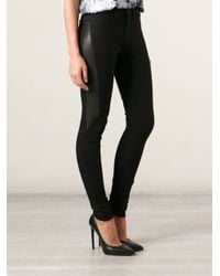 2nd Day - Black Jolie Leather Panel Jeans - Lyst