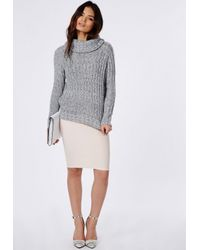 Missguided Carina Chunky Knit Roll Neck Jumper Grey in Gray - Lyst e30a4e8a4