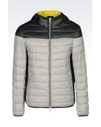 Armani Jeans | Gray Hooded Down Jacket In Technical Fabric for Men | Lyst