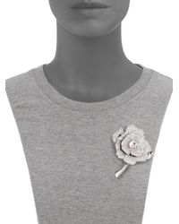 kate spade new york Metallic Rose Garden Pave Crystal Brooch