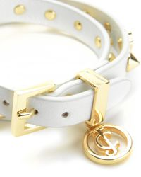 Juicy Couture | Metallic Flower Studded Leather Double Wrap Bracelet | Lyst