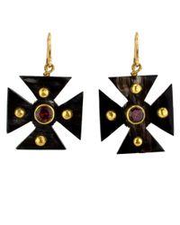 Ashley Pittman - Purple Dark Horn Araba Earrings - Lyst