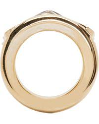 Balmain | Metallic Gold And Black Chevron Ring | Lyst