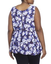 Jessica Simpson | Blue Plus Size Floral-print Swing Top | Lyst