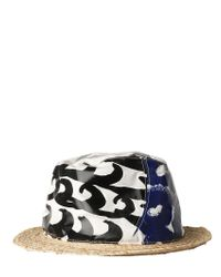 Tsumori Chisato White Wave Printed Cotton & Silk Twill Hat for men
