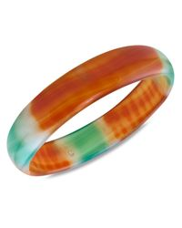 Macy's | Multicolor Green And Orange Agate Bracelet, Smooth Bangle (12mm) | Lyst
