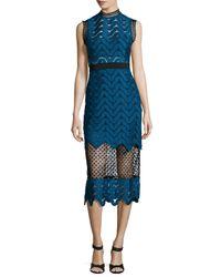 Self-Portrait - Blue Bandeau Inlay Scallop Guipure Lace Dress - Lyst