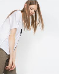 Zara   White Heart T-shirt   Lyst