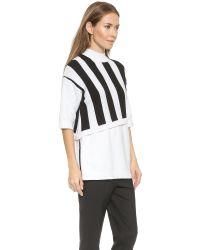 3.1 Phillip Lim Stripe Overlay Sweater - White/Black
