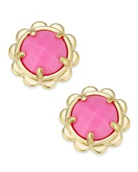 Kate Spade | Metallic Gold-tone Round Stone Scallop Edged Stud Earrings | Lyst
