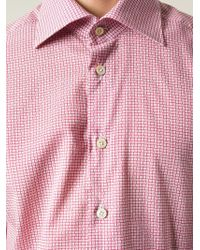 Kiton - Red Printed Spread Collar Shirt for Men - Lyst