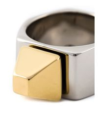 Saint Laurent | Metallic 'clous De Paris' Ring | Lyst