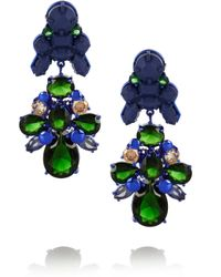 EK Thongprasert Green Silverplated Silicone and Cubic Zirconia Earrings