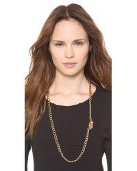 Rachel Zoe Metallic Love Me Knot Long Single Knot Necklace