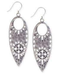 Lucky Brand | Metallic Cutout Leaf Drop Earrings | Lyst