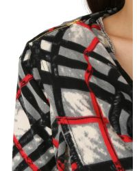 Izabel London Red Draped Check Print Top With Zip Detail