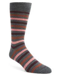 Etiquette Gray 'crosswalk' Stripe Socks for men