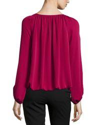 Diane von Furstenberg | Purple Hathaway Long-sleeve Silk Blouse | Lyst