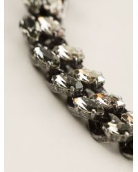 Lanvin Metallic Crystal Cable Chain Necklace