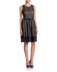 Eliza J Black Belted Lace Fit And Flare Dress