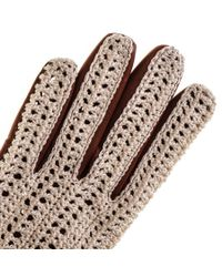 Black.co.uk Brown Cotton Crochet And Tan Leather Driving Gloves