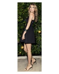 Express Black Structured Crisscross Fit And Flare Dress