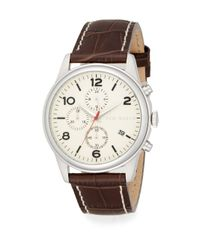 Ted Baker - Brown Stainless Steel & Embossed Leather Strap Chronograph Watch - Lyst