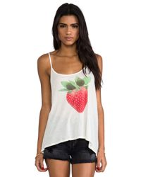 Wildfox - Strawberry Tank in Cream - Lyst