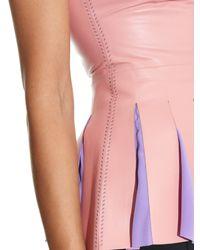ROKSANDA Pink Lendal Fluted Leather Sleeveless Top