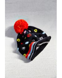 Urban Outfitters | Blue Kitschy Intarsia Pompom Beanie | Lyst