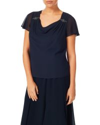 Jacques Vert Blue Draped Embellished Blouse