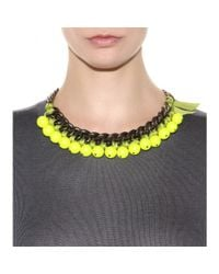 Lanvin - Yellow Beaded Chainlink Necklace - Lyst