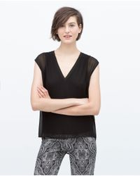 Zara | Black Top With Ribbed Neckline | Lyst
