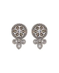 Mikey - White Fillagary Design Rnd Crystal Earring - Lyst