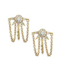 Elizabeth and James - Metallic Rigel White Topaz Chained Spike Earrings - Lyst