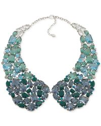 Carolee - Green Silver-Tone Drama Cluster Statement Necklace - Lyst