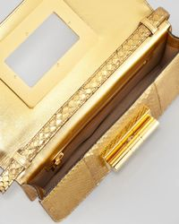 Tom Ford Metallic Natalia Eastwest Python Shoulder Bag Gold