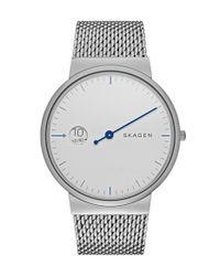 Skagen - Metallic 'ancher' Mesh Strap Watch for Men - Lyst