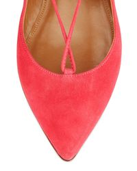 Aquazzura - Red Christy Lace-Up Pointed-Toe Flats - Lyst