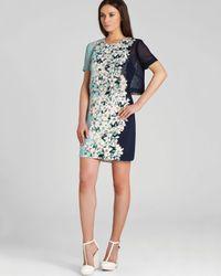BCBGMAXAZRIA Blue Kristy Layered Floral Dress