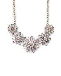 Forever 21 Metallic Bejeweled Floral Necklace