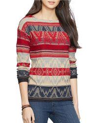 Lauren by Ralph Lauren Red Cotton Knit Sweater