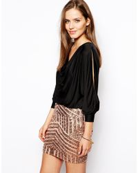 Forever Unique - Metallic Trixie Dress With Sequin Skirt - Lyst