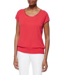 Lafayette 148 New York - Red Chain Crochet Necklace Sweater - Lyst